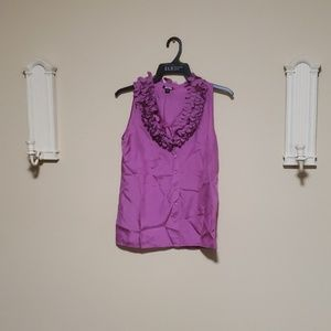 100% Silk Blouse Purple amazing collar detail